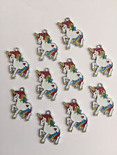 10 UNICORN CHARMS/PENDANTS-ENAMEL/METAL-JEWELLERY/KEYRINGS-28MM-CHARMS-3CM-WHITE
