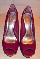 Anne Michelle Purple Suede High Heel Open Toe Platform Pumps Size 6.5