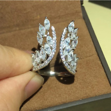 Marquise & Round Shape CZ Unique Shaped Wing 925 Sterling Silver Adjustable Ring