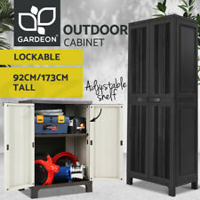 Gardeon Outdoor Storage Cabinet with Lockable Doors and and Adjustable Shelves - Ivory