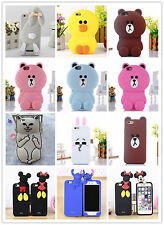 3D Cute Kids Cartoon Animals Line Brown Bear Rabbit Soft Silicon Back Case Cover