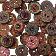 100Pcs Mixed Flower Wood Button 2 Holes Apparel Sewing Coat Craft DIY 15mm