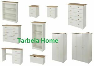 Colorado White and Oak Bedroom Furniture - Bedside, Storage, Wardrobe & Drawers