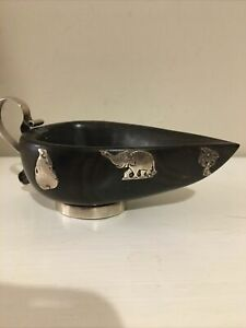 Antique Hardwood Small Bowl With Silver Handle