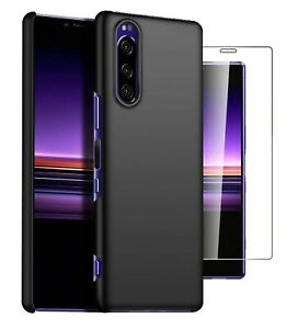 For Sony Xperia 10 II Case Slim Hard Back Cover & Glass Screen Protector