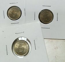 3PCS 1967 - MALAYSIA 5 CENTS UNC