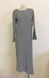 BASSIKE Long Organic Cotton Striped Dress Ladies Size S Excellent New Condition