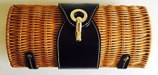 New Kate Spade New York Natural Black Patent Leather Wicker Rattan Straw Clutch