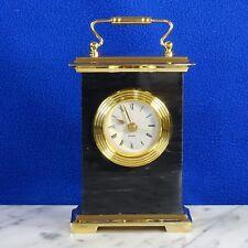 "Brass & Black Marble Desk Mantle Clock Quartz Movement 7"" Tall"