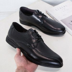 Mens Faux Leather Pointed Toe Soft Loafers Fashion Comfy Lace Up Party Shoes