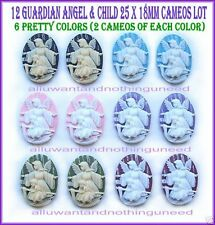 12 Christian Religious Easter mixed Guardian Angel 25mm x 18mm CAMEOS crafts LOT