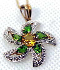 "14Kt Yellow Gold Rd CITRINE & CHROME DIOPSIDE Pear Shape PENDANT 1.63ctw 18"" CH"