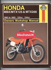 Honda MBX MTX 125 200 RW (1983-1993) Haynes Shop Repair Manual Book MBX125F CY55