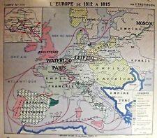 Ancienne carte type old map affiche VIDAL N°229 l'Europe de 1812 ,1815 Waterloo