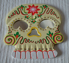 Floral Skull Wooden Frame Mirror wall hanging decoration colour wood voodoo goth