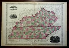 Kentucky & Tennessee Nashville State House Mammoth Cave 1865 Johnson map