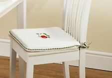 2 X APPLE & PEARS GREEN RED GINGHAM KITCHEN CUSHION SEAT PAD 40.6cm x 40.6cm