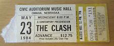 1984 The Clash Omaha Concert Ticket Stub Joe Strummer London Calling Combat Rock