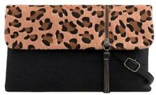 Leopard Animal Print Clutch Bag Faux Leather Fur Evening Black Brown Handbag New