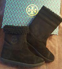 TORY BURCH Black Shearling Logo Flat Booties Boots- Style #32158108 Size 10 EUC