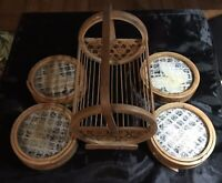 Vintage Rattan Dried Butterflies Coaster Set (4) With Caddy