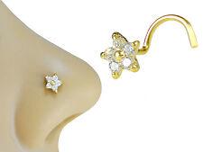 18K Solid Gold, 6mm Flower Clear CZ, Screw Shape Stud Nose Ring Nose Piercing