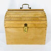 Vintage Barn Shaped Train Case Wooden Retro Decorative Storage Sewing Box