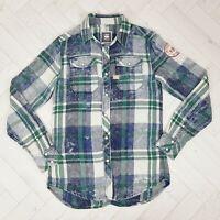 Men's G STAR RAW Landoh Check Cotton Long Sleeve Shirt Pearl Snap Size S