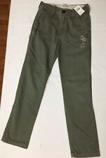 NEW NWT Abercrombie & Fitch Kids A & F Boys Olive Green Chino Pants Size 12 Slim