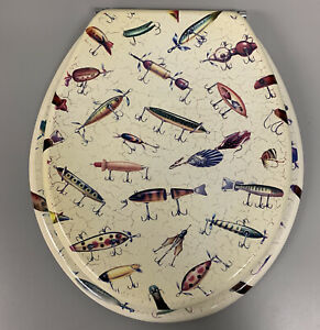 Vintage Unique One-of-a-kind Fishing Lure Toilet Seat - A man cave must have!