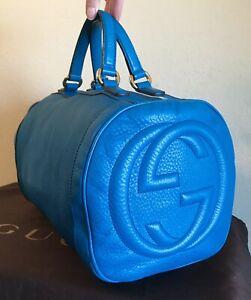 Gucci Royal Blue Leather GG Soho Boston Handbag Medium Tassel Satchel Tote Bag