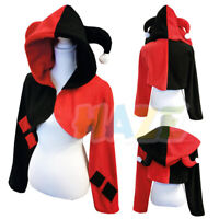 Suicide Squad Harley Quinn Cloak Sweater Cosplay Costume Coat Fancy Dress