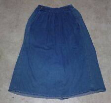Vintage 80s Calvin Klein Denim Midi Skirt Pockets Pleated High Waist Size 8