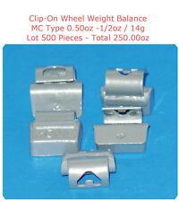 500 Pcs ZN CLIP-ON Wheel Weight Balance MC Type 0.50oz 1/2oz Total 250.00oz