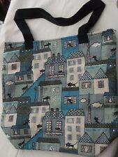 Tote bag realizzata a mano 33 CM x 33 cm Gatti e CASE canovaccio di cotone, leggermente imbottito