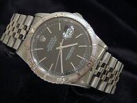 Mens Rolex Stainless Steel Datejust Turn-O-Graph Thunderbird Watch Black 16264