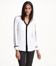 NWT H&M WHITE BLACK EDGED V-NECK BLOUSE TUNIC SHIRT TOP 10 6 38