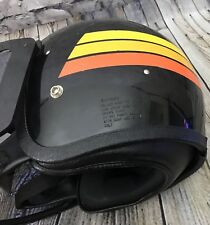 Ski Doo SnowMobile Sno Rider Helmet With Visor Black Yellow Orange Vintage XL