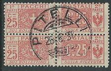 1914-22 REGNO USATO PACCHI POSTALI 25 CENT COPPIA ANNULLO PITELLI - Z20-3
