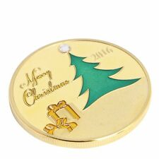 2016 Gold Plated Commemorative Coin Merry Christmas Tree Deer Collectible Gift