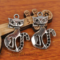 30pcs 25mm Charms Cute Cat Pendant Tibet Silver DIY Jewelry Making Charm A7236