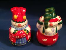 NOS RED/BLUE/YELLOW/GREEN WHIMISCAL SNOWMAN SALT AND PEPPER SHAKER SET
