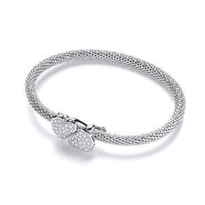 Sterling Silver Mesh Bracelet Two 2 Hearts Cubic Zirconia Charm Bracelet J JAZ