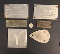 Vintage Metal Plates Lot of 6 Sunbeam, Westinghouse, Transformer, Water Tight