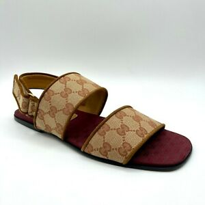 Gucci Men's Brown/Beige GG Canvas Wide Strap Sandal 9 / US 9.5 574492 8371