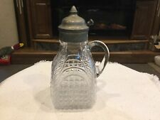 New listing Vintage Pressed Glass Syrup Pitcher w/ Pewter Lid
