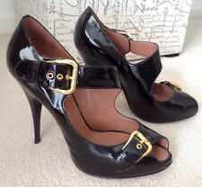 GIUSEPPE ZANOTTI PATENT LEATHER BLACK/GOLD HIGH HEEL BUCKLE SHOE .... SIZE 37.5