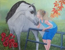 "original oil painting ""Soft touch"" Girl and White Horse  size 20""x 16"""