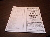 SEPTEMBER 1961 NORTHERN PACIFIC RAILWAY EMPLOYEE TIMETABLE #78-C