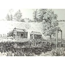 Original Holloway Bristol Savages Ham Green Fishing Lake Drawing Sketch Painting